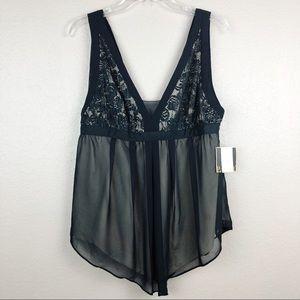 Rachel Roy Sz 12 Babydoll Lace Black Top Blouse